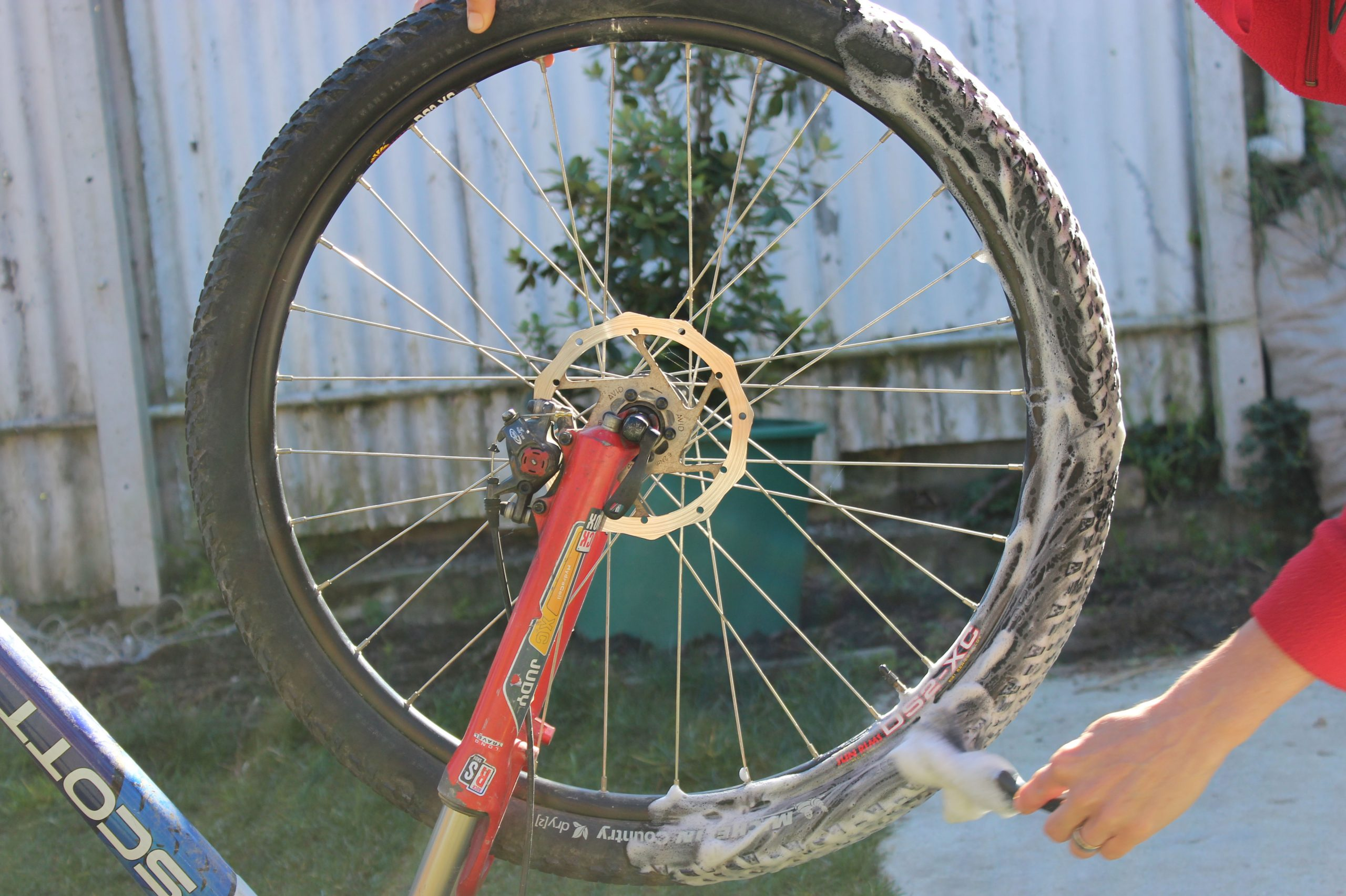 Cleaning A Bike Tyre