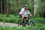 Mid mount kids seat & recreation helmet combo - bike path riding