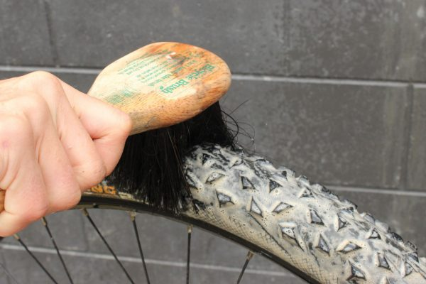 Bike brush cleaning bike tyres goRide