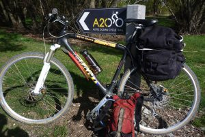 This is the bike I rode - front suspension, skinny knobbly tyres, panniers.