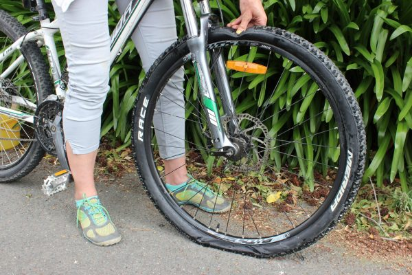 A flat tyre.  How to fix a flat tyre. goRide