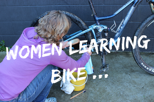 Women learning bike...