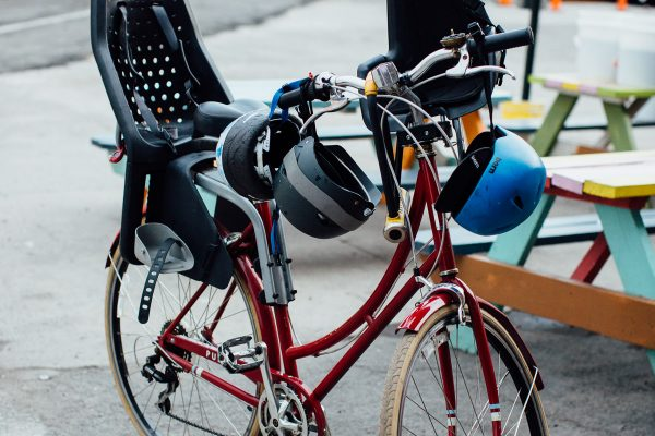 Riding in town with child bike seats. goRide