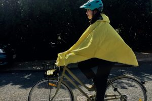 Yellow Rain Poncho - town riding