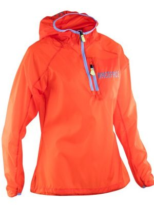Lightweight packable bike jacket. front orange. goRide